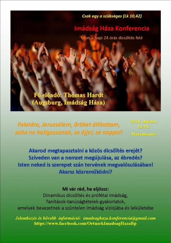 Imádság Háza konferencia, Máriabesnyő 2014. október 23-25.